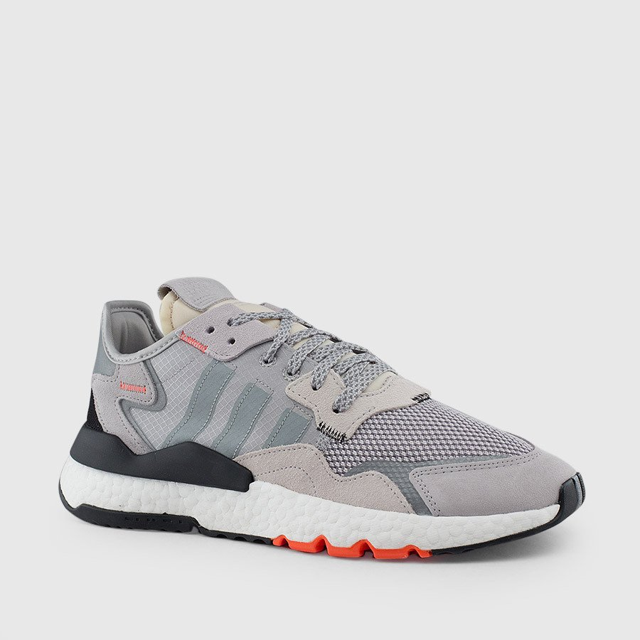 Adidas Nite Jogger Shoes Grey & Black & Red